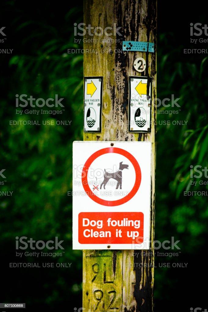 Dog Fouling sign on telegraph pole stock photo