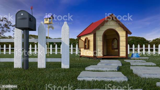 Dog house on lawn with fencing 3d illustration picture id910999044?b=1&k=6&m=910999044&s=612x612&h=op6dkmisyhajonwb6eo4lyxkktwkwl6l9kovfzcx 3s=