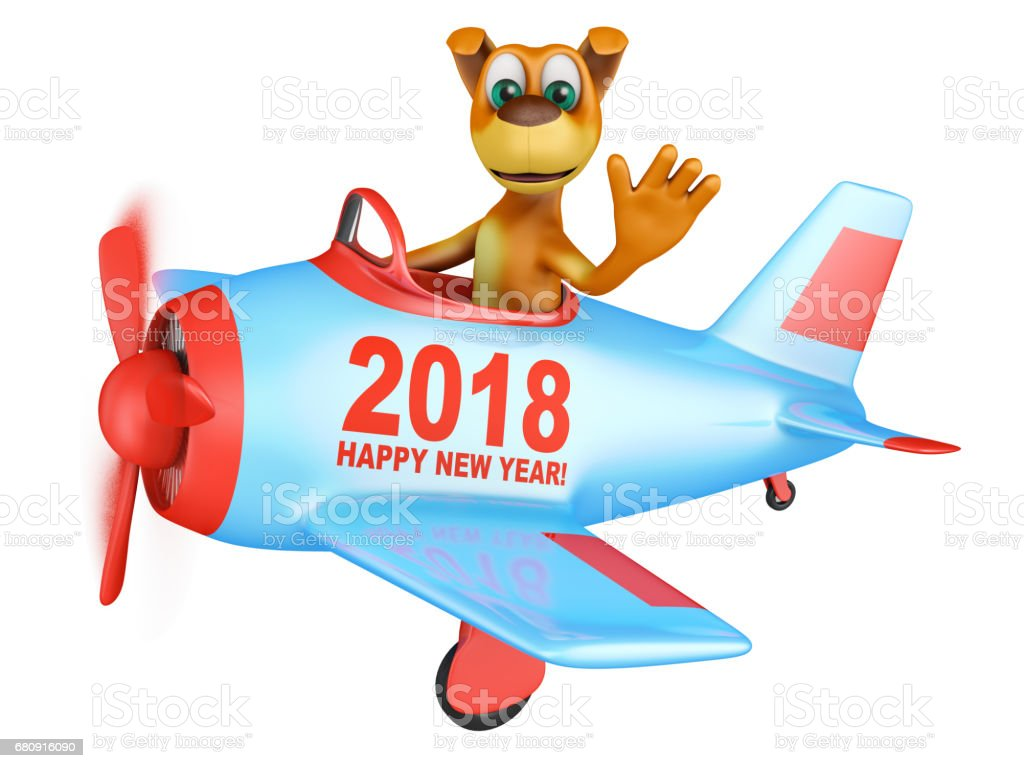 dog  in  plane  Happy New Year 2018 royalty-free stock photo