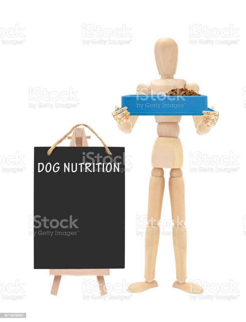 Dog Nutrition Blackboard Wood Mannequin Food Dish stock photo