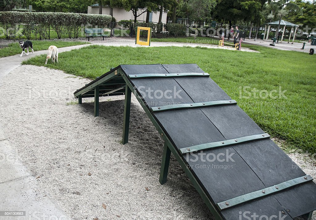 Dog Park Agility Ramp Course In Summer stock photo