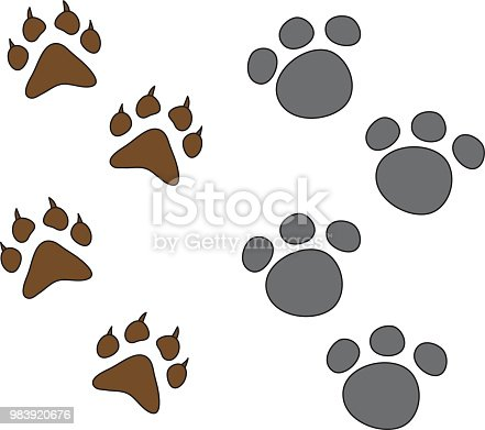 istock dog paw set isolated 983920676