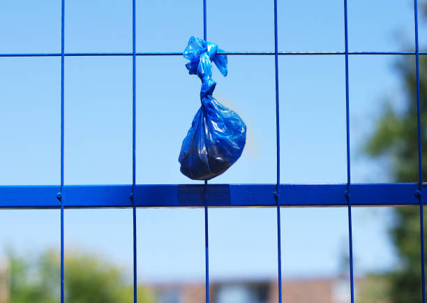 Dog poo bag Dog poo bag hanging on fence poop stock pictures, royalty-free photos & images