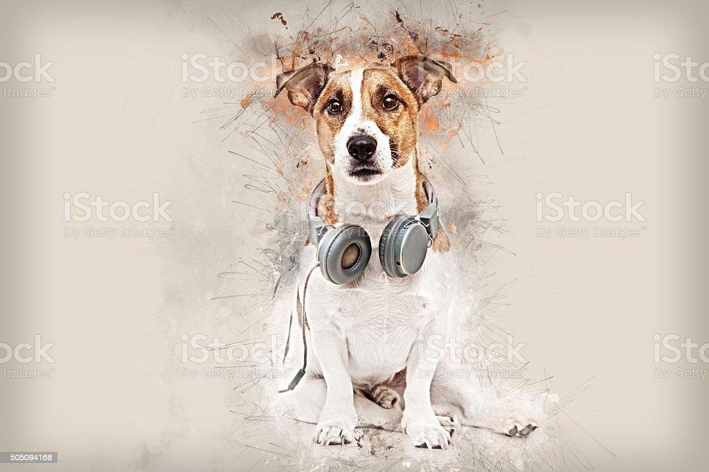 Dog portrait with headphones stock photo