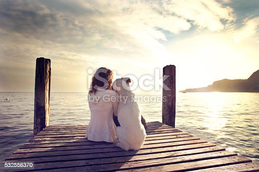istock dog rests gently on his master's shoulder while looking view 532556370