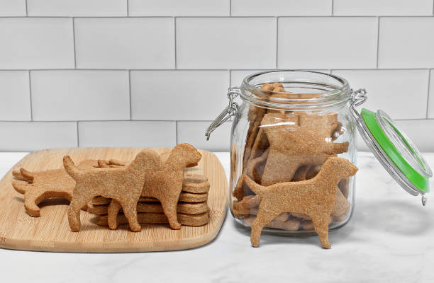 Dog shaped dog cookies with cookie jar. Dog shaped dog cookies and a cookie jar.  Some cookies upright and some on cutting board. dog jars stock pictures, royalty-free photos & images