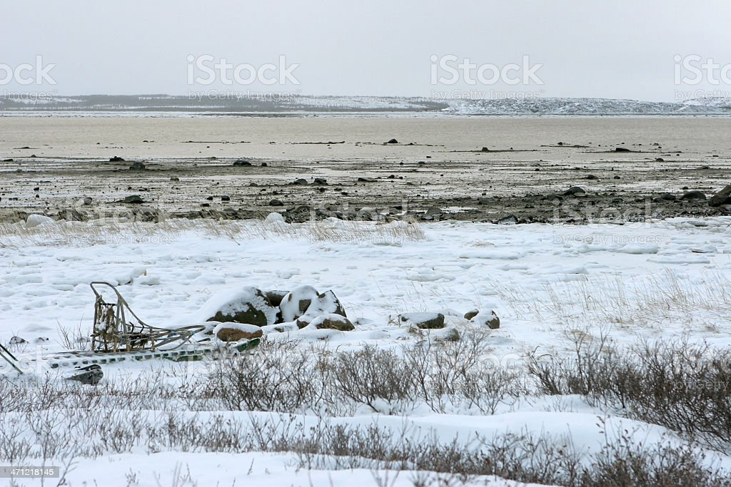 Dog sled and Churchill River, Manitoba Canada royalty-free stock photo