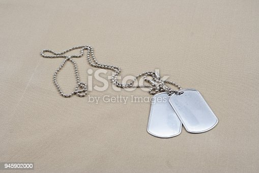 istock Dog tags on desert camouflage uniform 945902000