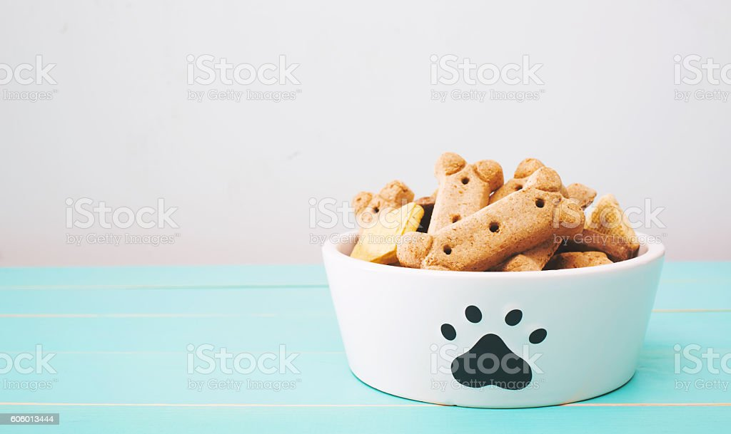 Dog treats in a bowl on wooden table – Foto