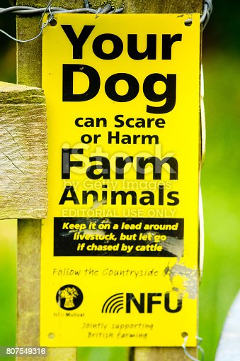 Information sign on Ouse Valley Way pathway telling owners to keep control of their dogs to avoid scaring farm animals.