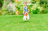 Dog with ball in mouth runs from kid playing chase game at summer lawn