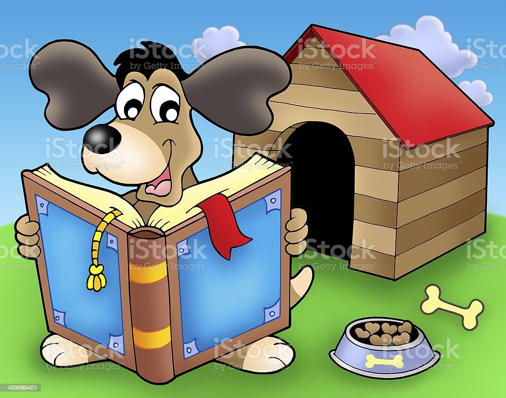 Dog with book in front of kennel royalty-free stock photo