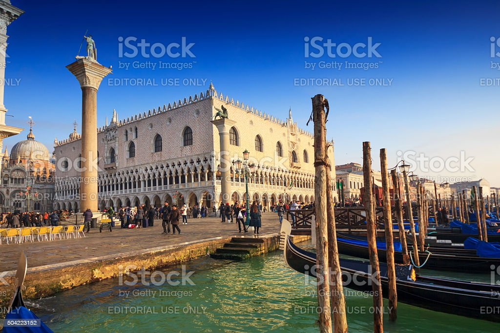 Doge's Palace view fron the gondolas dock stock photo