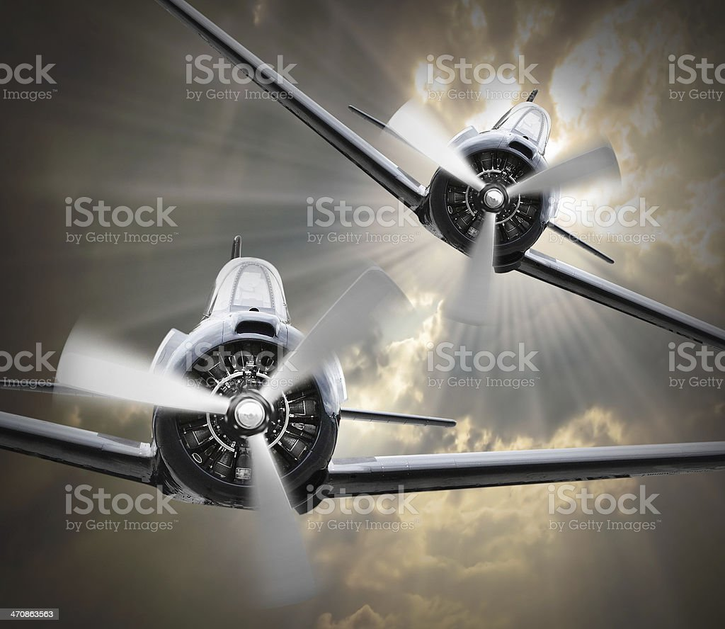 Dogfight on The Sky. stock photo