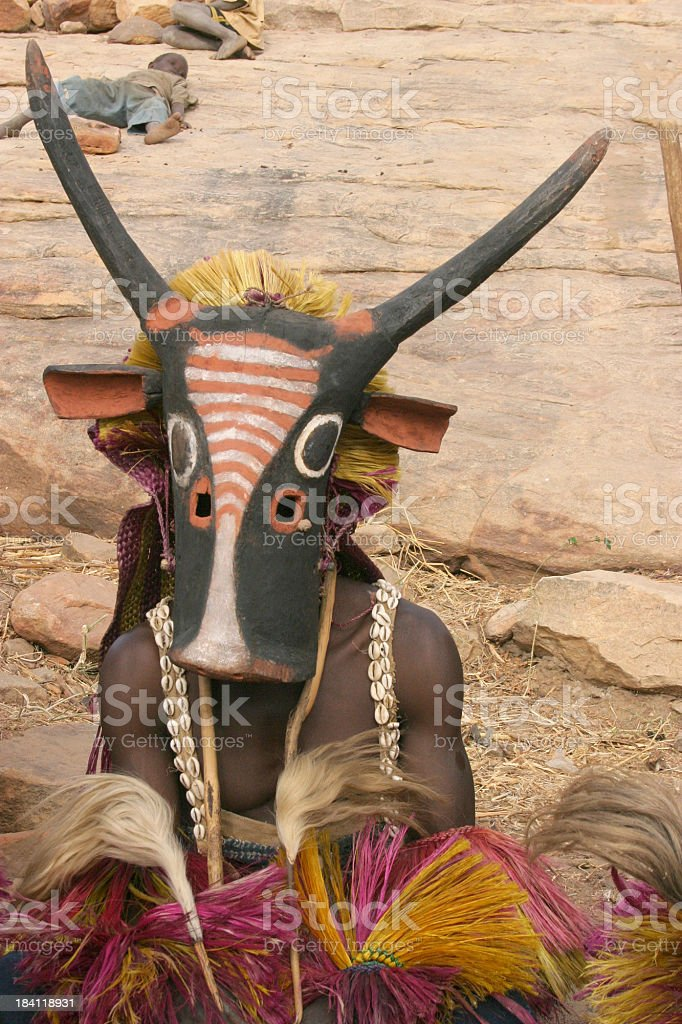 Dogon Dancer with Cow Mask stock photo