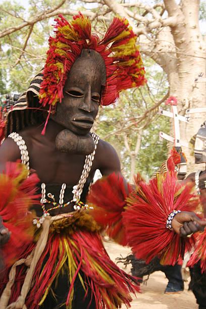 Dogon Dancer with Goiter Mask stock photo
