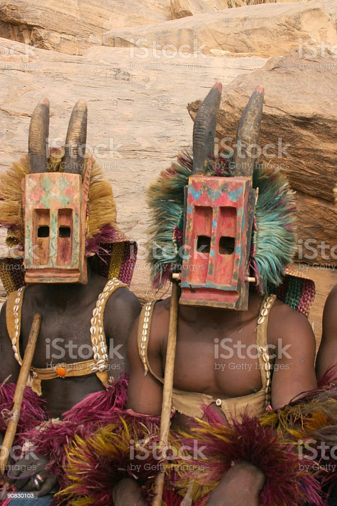 Dogon Dancers with Antelope Masks stock photo