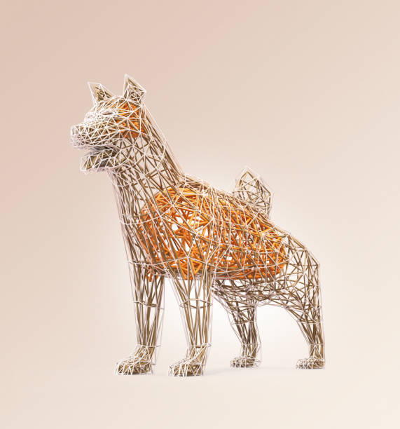 低ポリゴン スタイルの犬のワイヤー フレームの形状 ストックフォト