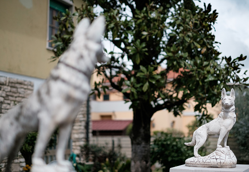 two dog-shaped stone fence posts at the entrance of a small villa. Shallow focus on the dog in the background