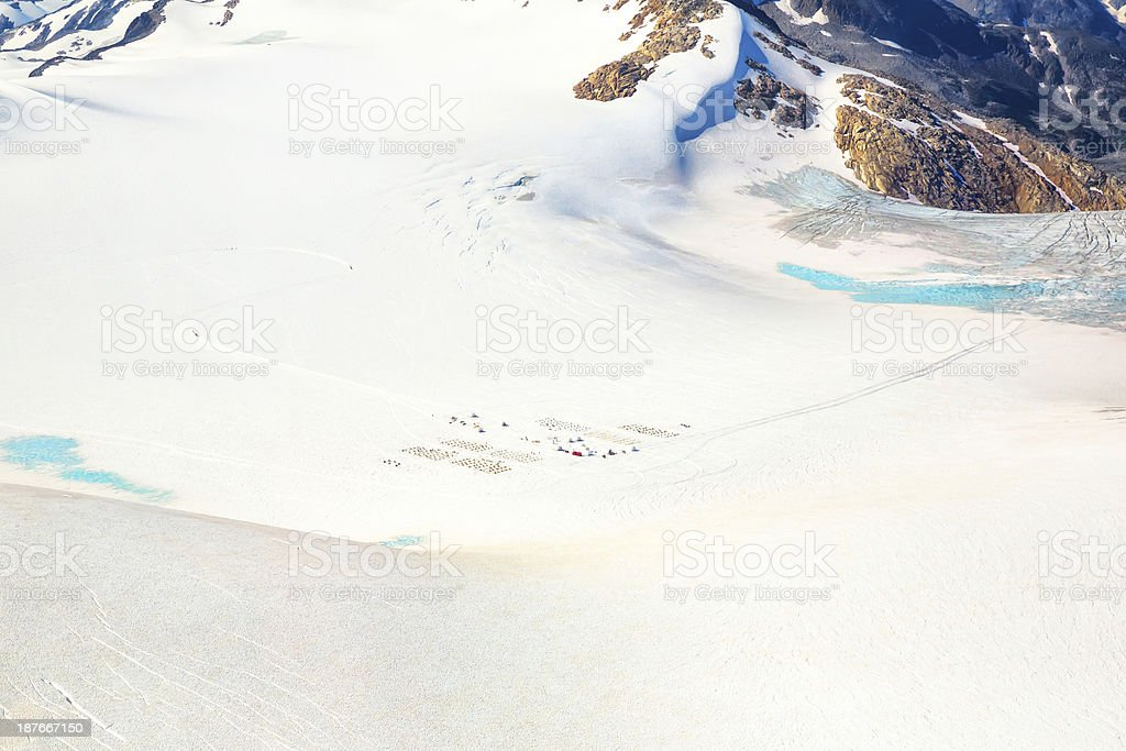 Dogsledding base camp in Alaska from a distance royalty-free stock photo