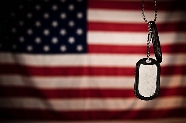 dogtags - saluting stock photos and pictures