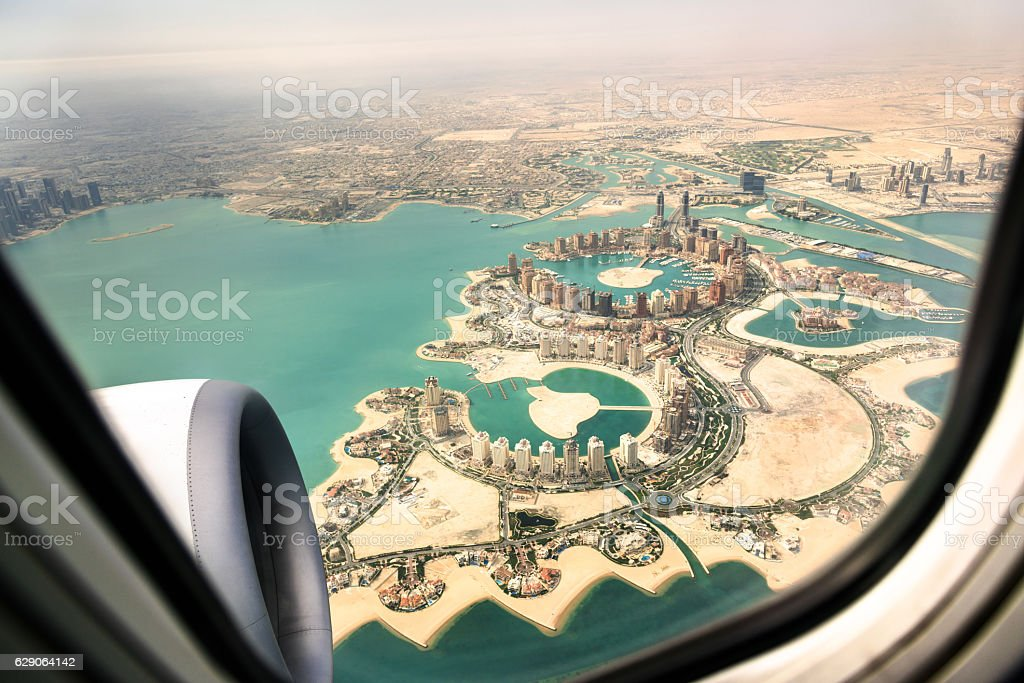 doha aerial view from the airplane stock photo