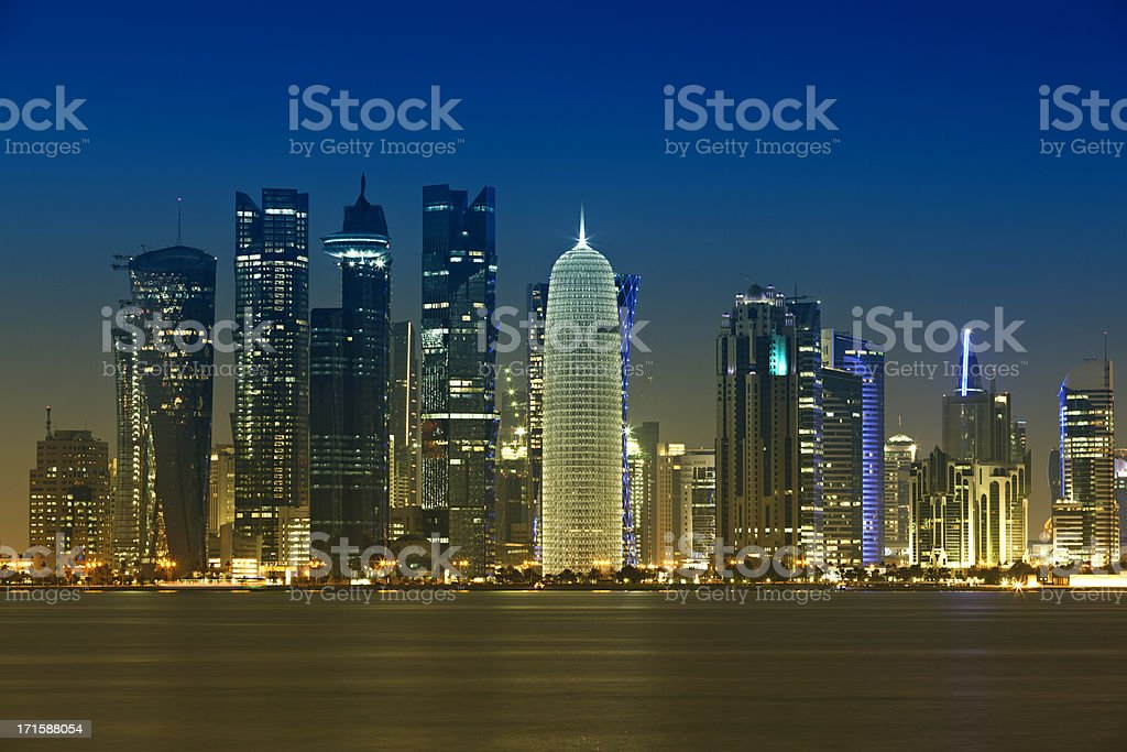 doha bay district skyline royalty-free stock photo