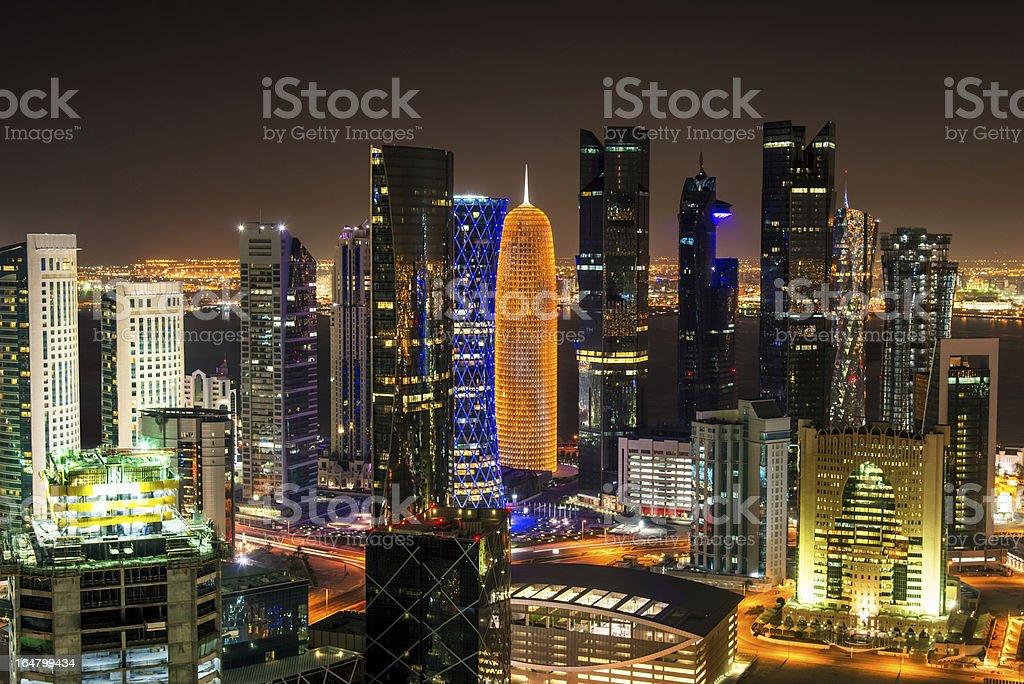 Doha by Night, Qatar royalty-free stock photo
