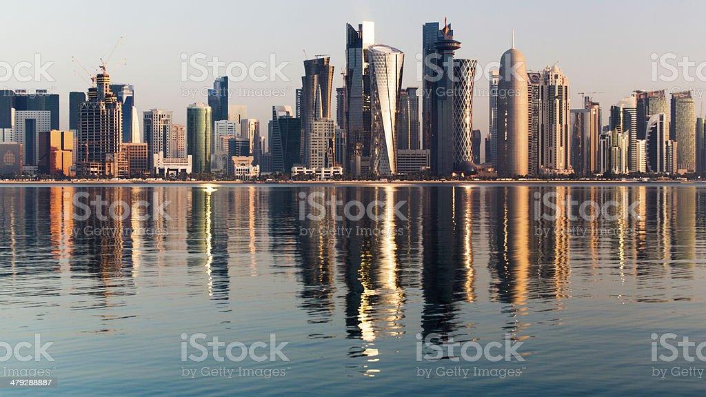 Doha City Qatar at sunrise stock photo