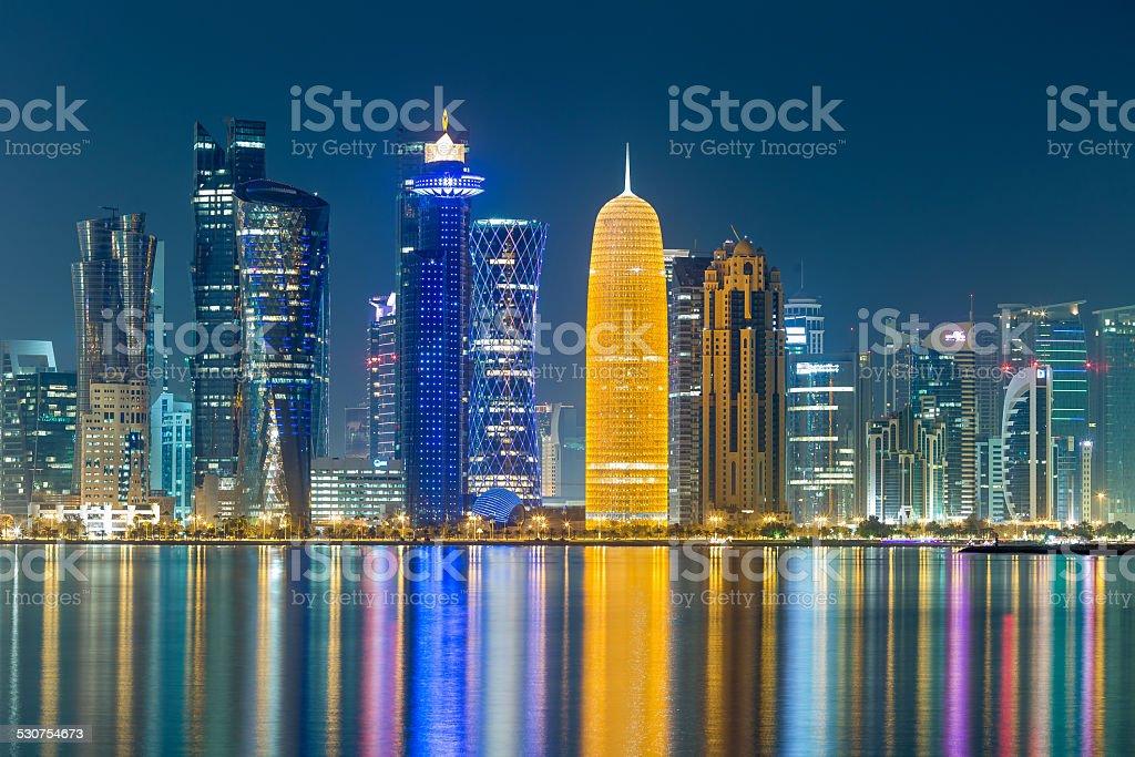Doha Cornice Towers stock photo