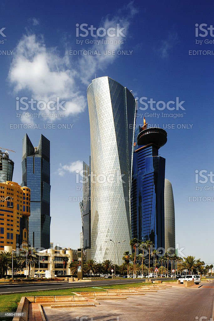 Doha Corniche, also known as the West Bay District, Qatar stock photo
