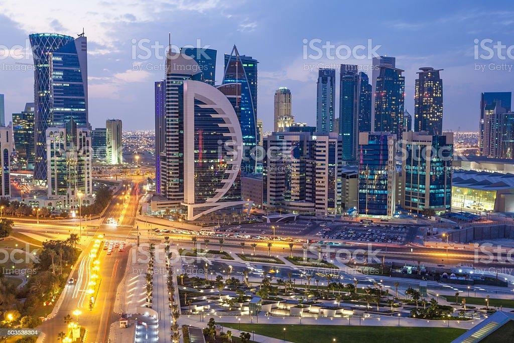 Doha downtown at night stock photo