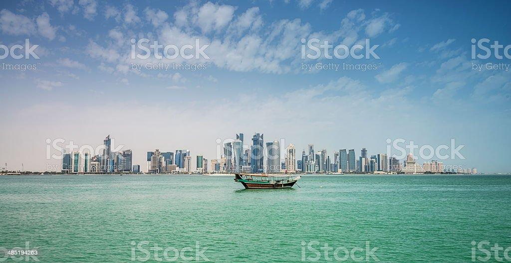 Doha Panorama Skyline with Dhow, Qatar stock photo