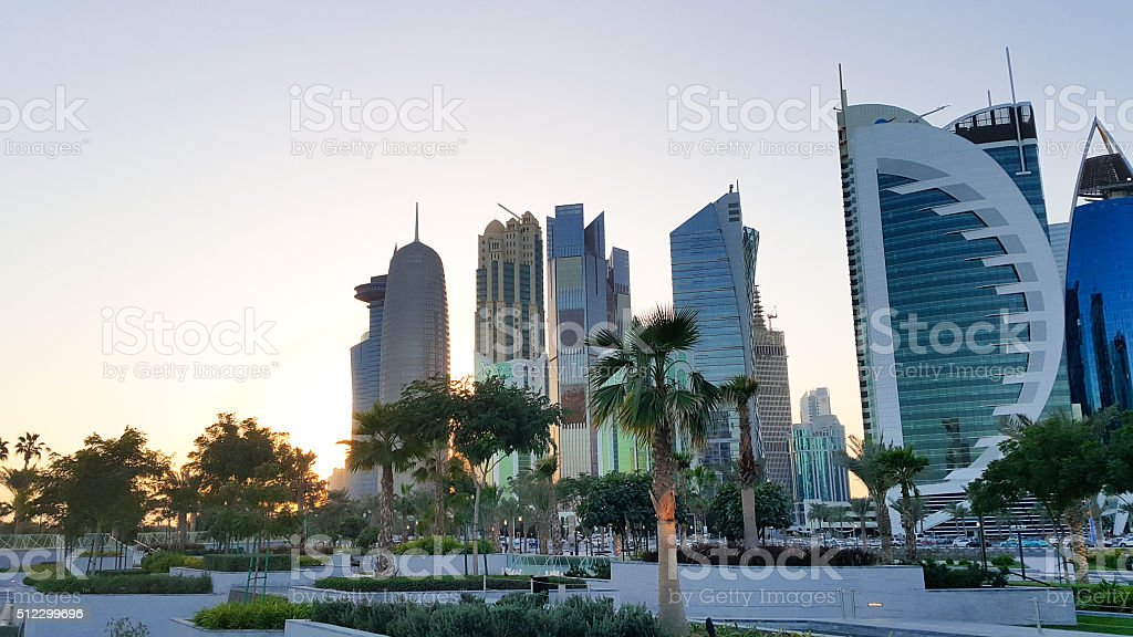 Doha, Qatar City Center sunset stock photo