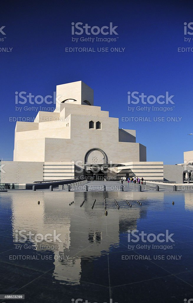 Doha, Qatar: limestone facade of the Islamic Art Museum stock photo