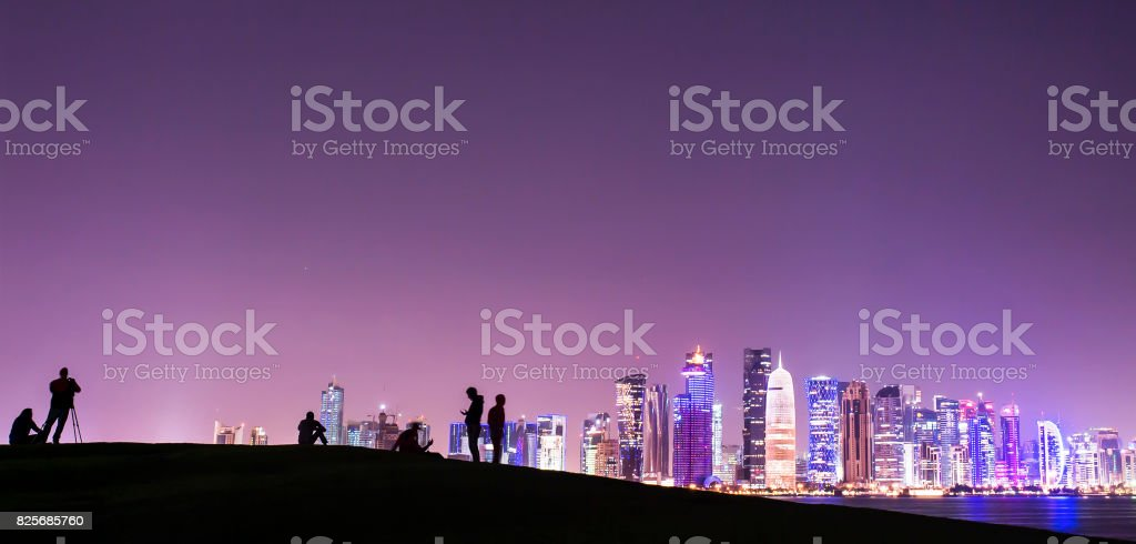 Doha skyline at night, Qatar, Middle East stock photo