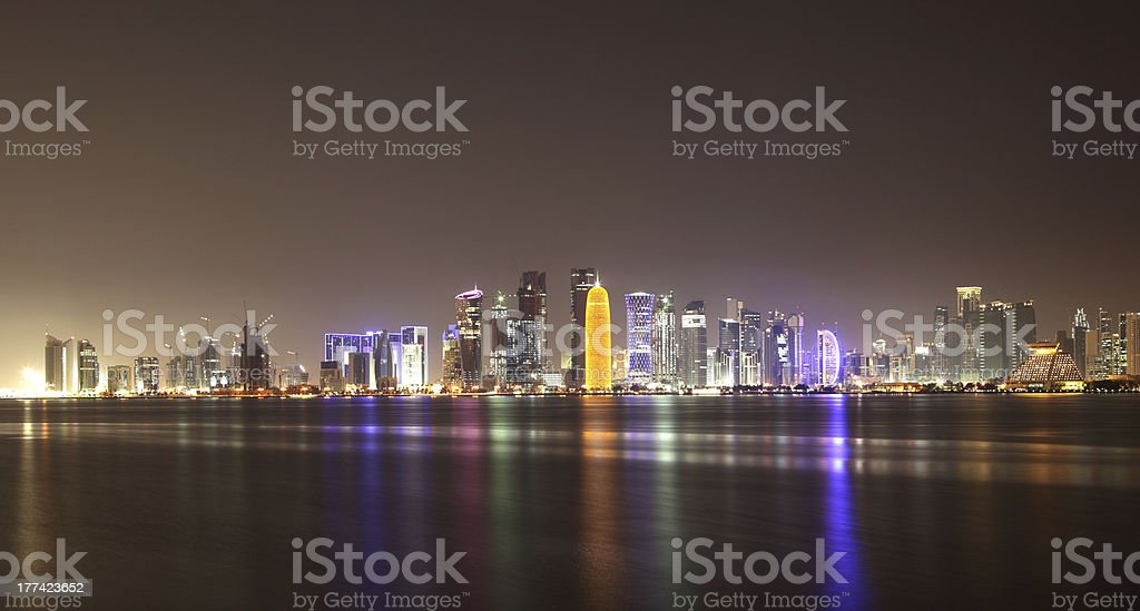 Doha skyline at night, Qatar royalty-free stock photo