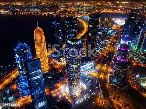 istock Doha Skyline at Night, Qatar 936440938