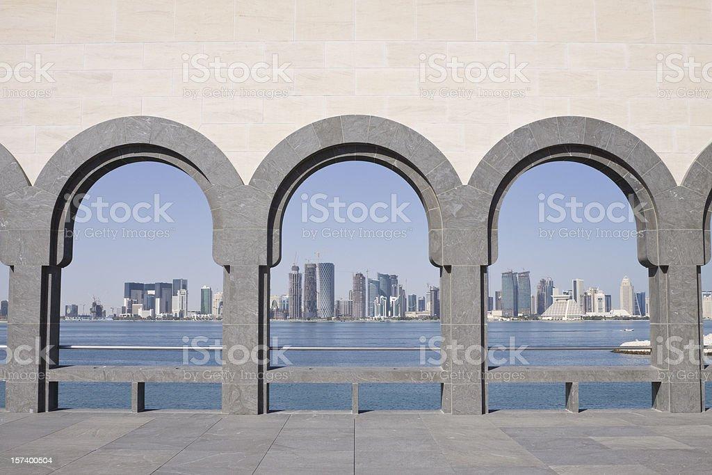 Doha Skyline framed royalty-free stock photo