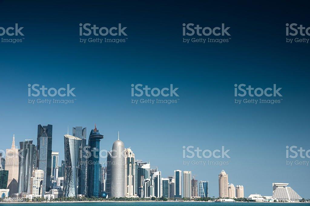 doha skyline of the downtown in Qatar stock photo