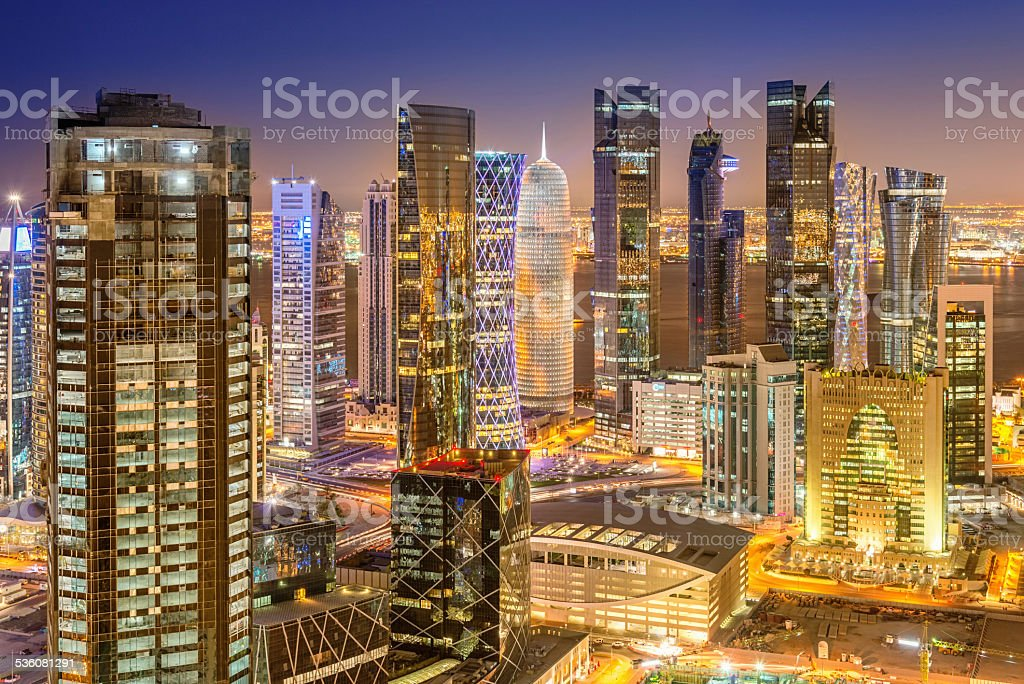 Doha Skyline, Qatar Cityscape from Above at Night stock photo