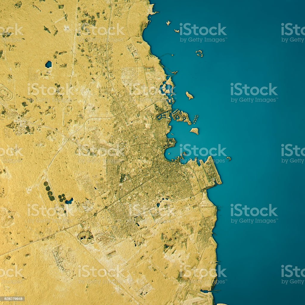 Doha Topographic Map Natural Color Top View vector art illustration