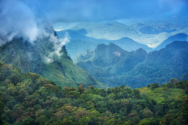 Doi Luang Chiang Dao Province Chiang Mai view scenic views from the mountain as a long part  is on the mountain ridges at Doi Luang Chiang Dao in Chiang Mai Thailand. taoism stock pictures, royalty-free photos & images