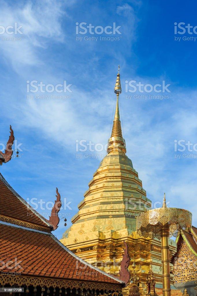 Doi Suthep temple, Landscape of beautiful temple in Chiang Mai, Thailand stock photo