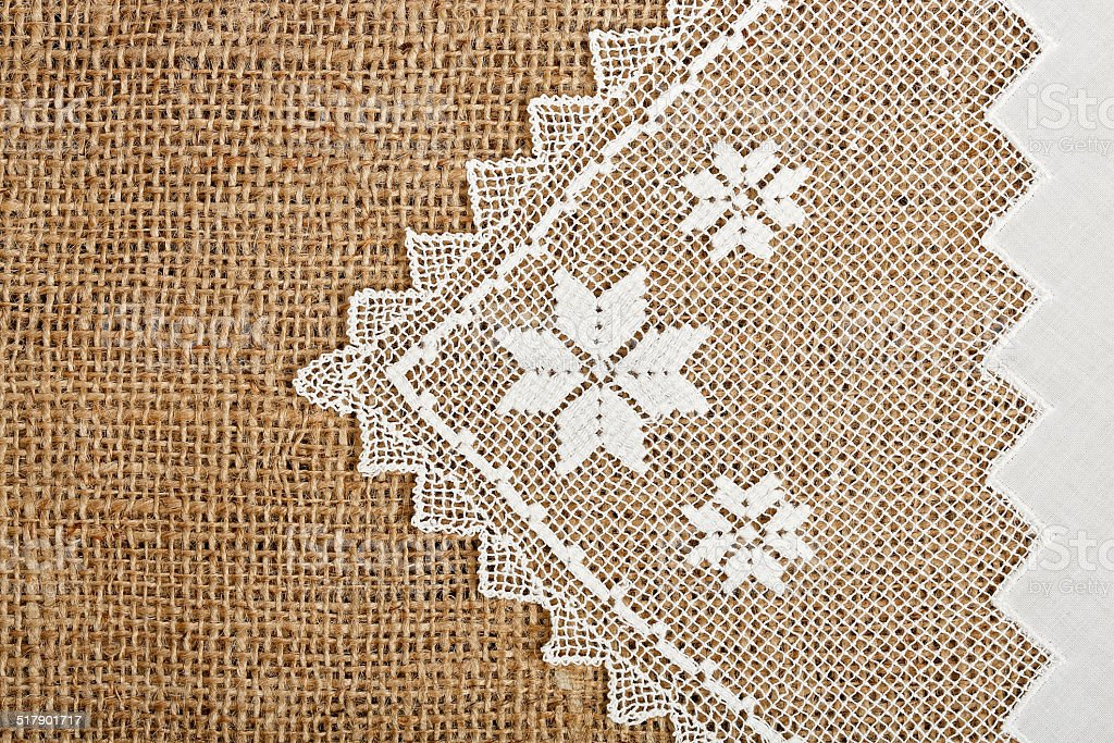 doily and burlap stock photo