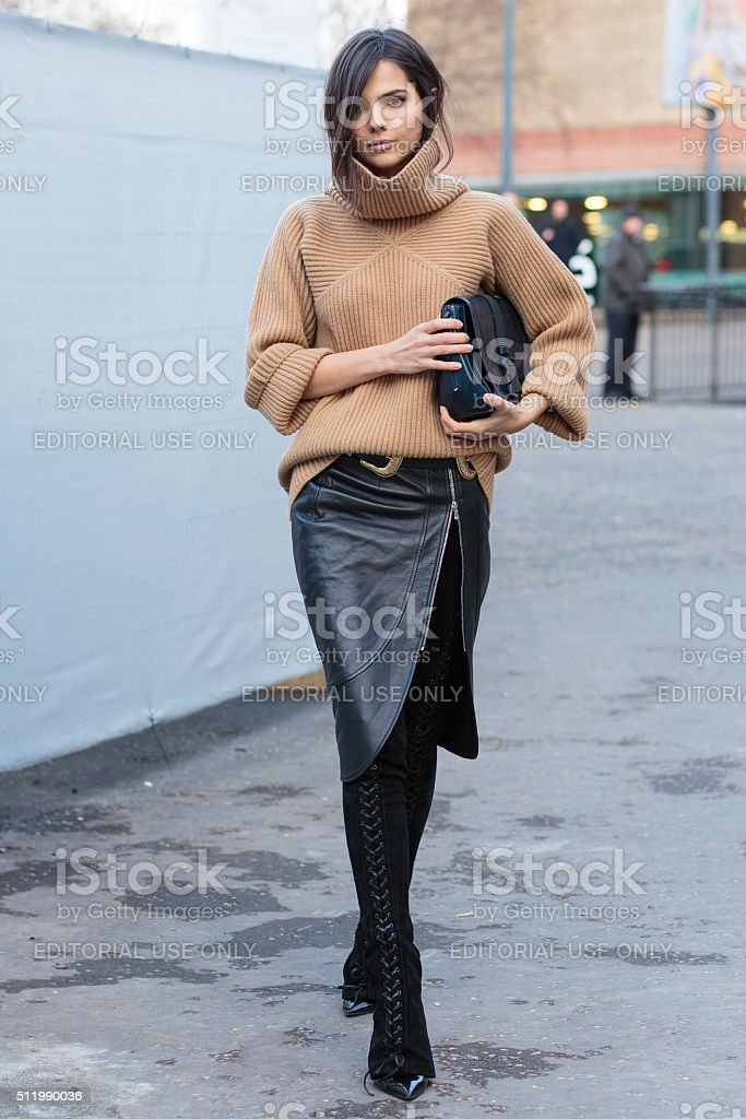 Doina Ciobanu attend to Christopher Kane show during London Fashion stock photo