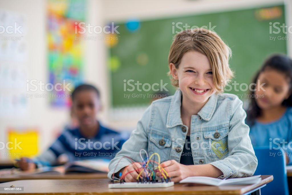 Doing A Science Project royalty-free stock photo