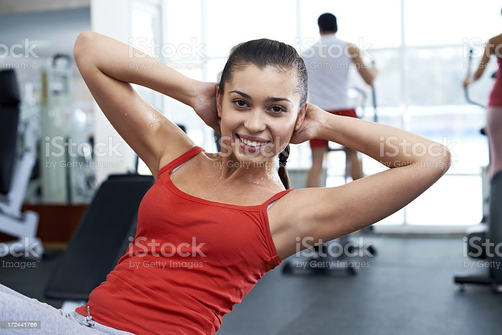 Doing abdominal exercise royalty-free stock photo