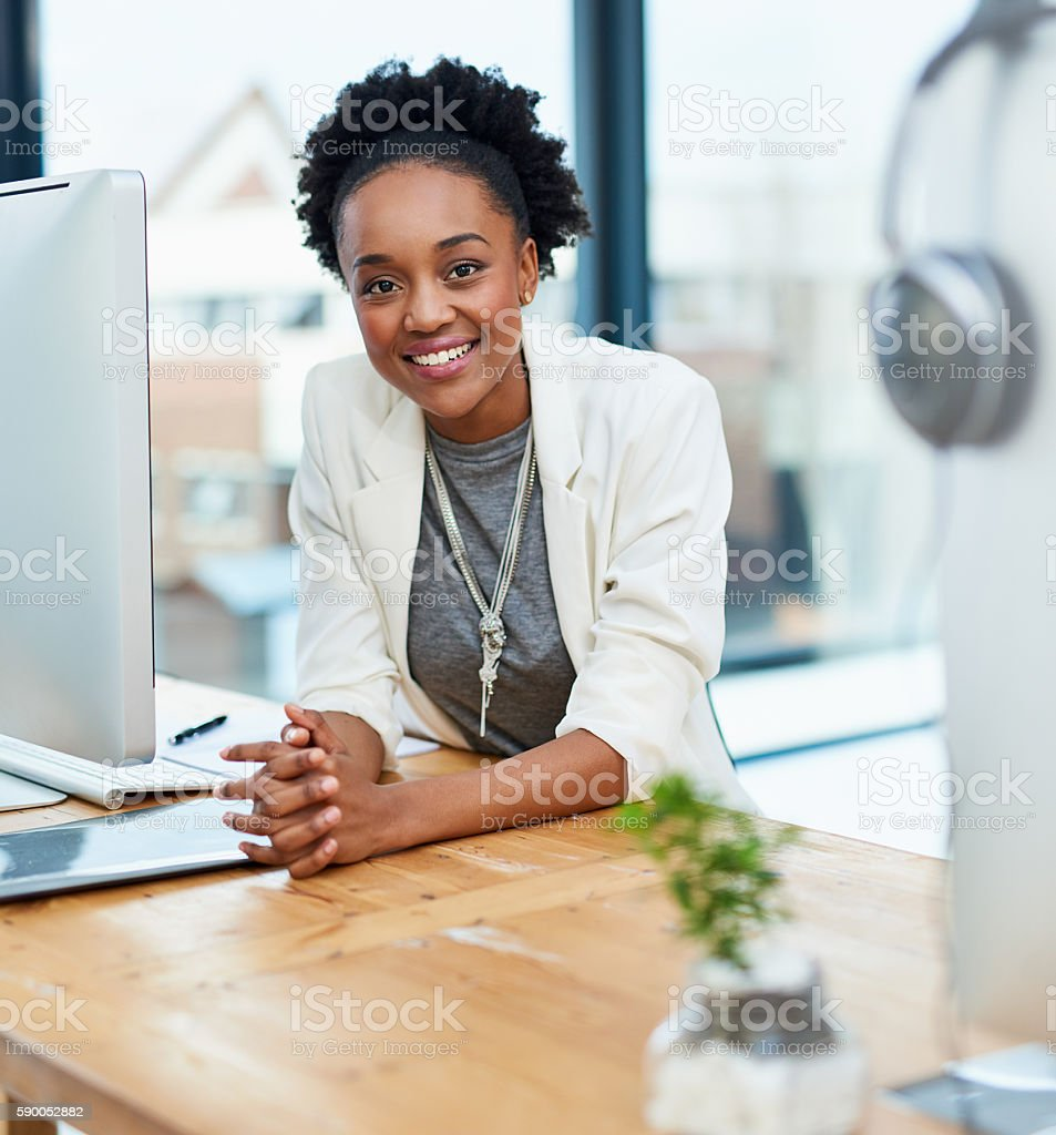 Doing business with a smile stock photo