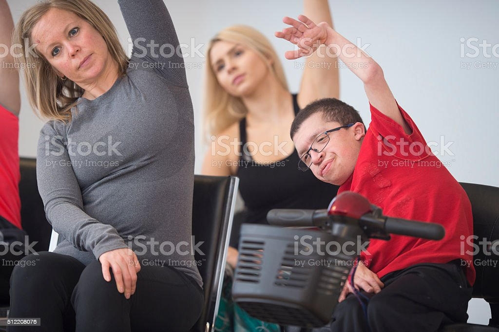 Doing Deep Stretches Together stock photo
